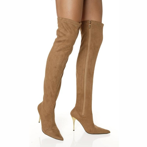 VIXEN THIGH HIGH BOOTS - TAN-