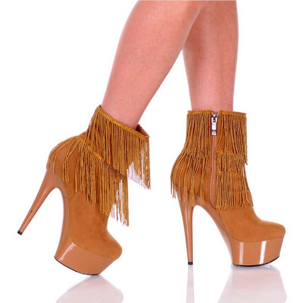 CANDY FRINGE BOOTS - CAMEL-AMBER-401