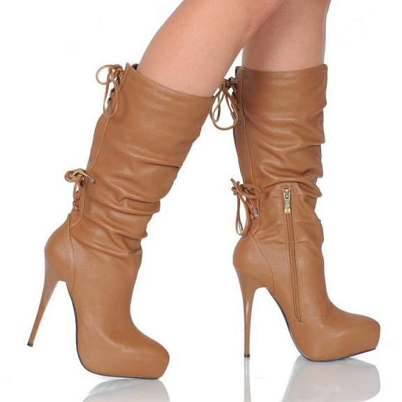 DESIREE GLAM LACE UP BOOTS - BROWN-