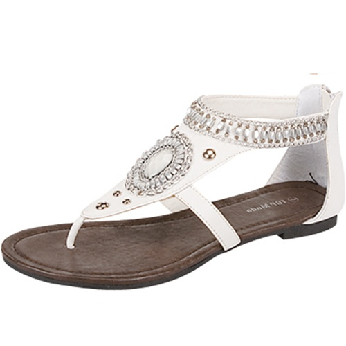 WHITE/SILVER  FASHION FLATS-white, flat, sandal, silver, circle, bead