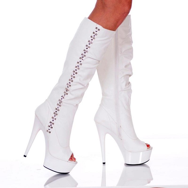 DESTINY GLAM OPEN TOE BOOTS - WHITE-AMBER-91