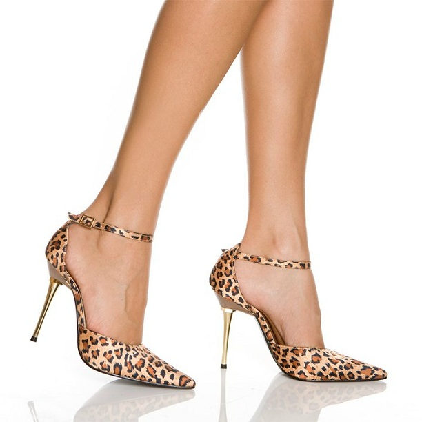LEOPARD ANKLE STRAP STILETTO PUMPS-LEOPARD, METAL, PUMP