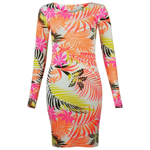 ALOHA TROPIC DRESS - ORANGE-