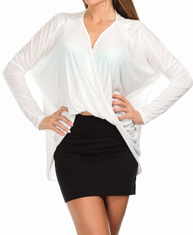ARIA DRAPED TOP - WHITE-