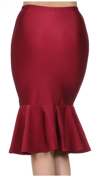 ASHLEIGH RUFFLE SKIRT - BURGUNDY-