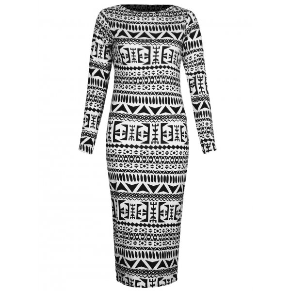 AZTEC LS KNEE LENGTH DRESS-