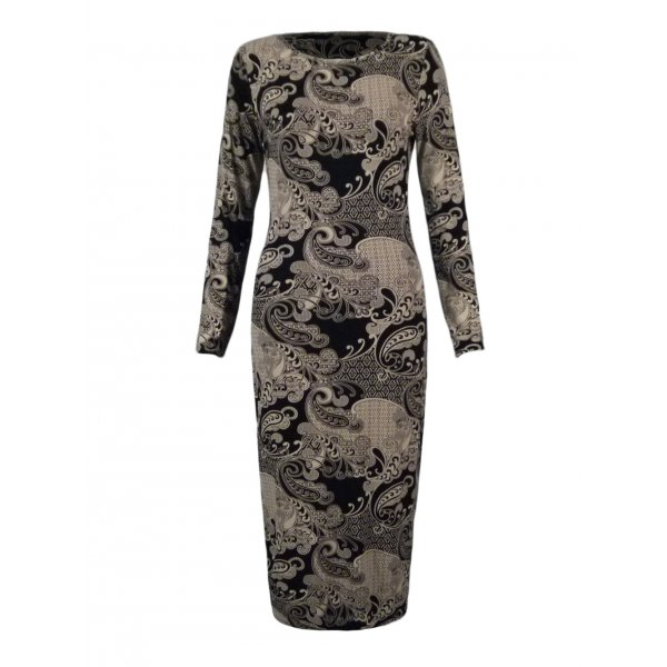 BLACK/BEIGE PAISLEY PRINT KNEE LENGTH DRESS-
