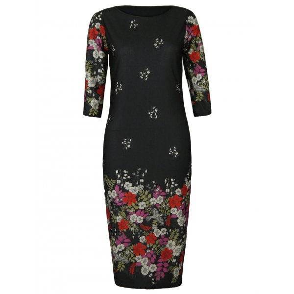 BLACK FLORAL PRINT KNEE LENGTH DRESS-