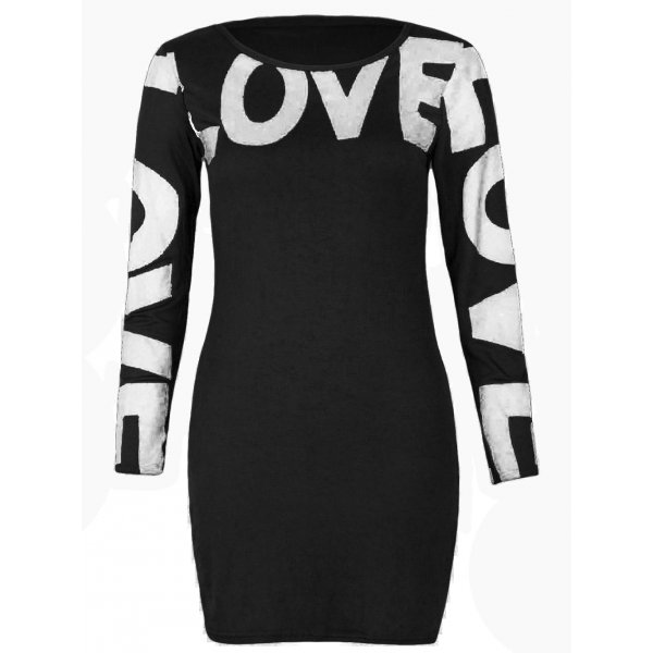 LOVE LONG SLEEVE MINI DRESS - BLACK-