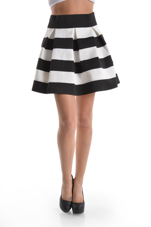 BLACK/WHITE SKATER SKIRT-