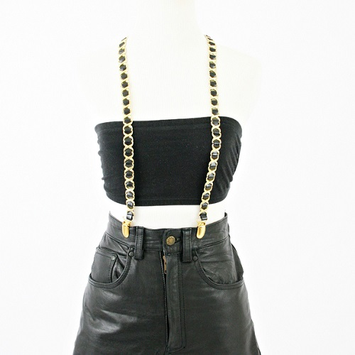 GOLD BLACK CHAINLINK SUSPENDERS-