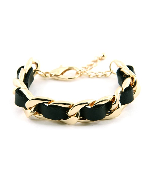 BLACK/GOLD LEATHERETTE CHAINLINK BRACELET-