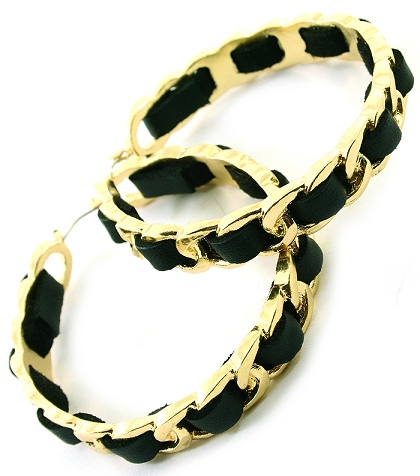 BLACK/GOLD LEATHERETTE CHAINLINK HOOP EARRINGS-