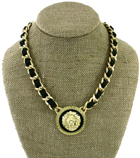 LEATHERETTE CHAINLINK LION NECKLACE - BLACK/GOLD-