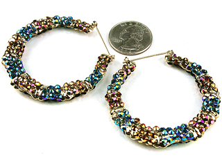 GOLD/BROWN/NAVY HOOPS-RHINESTONE,HOOPS