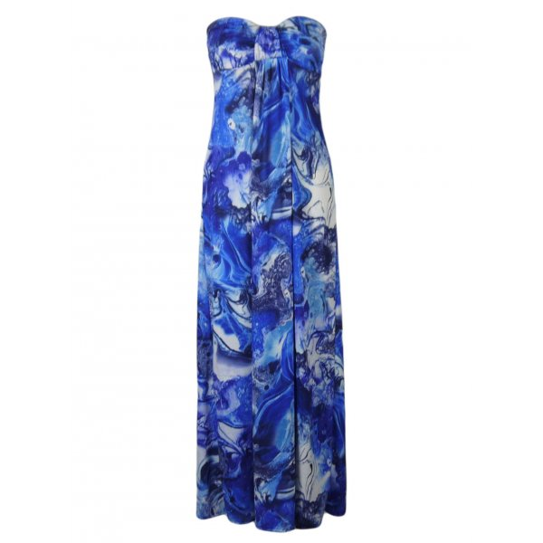 BLUE MARBLE STRAPLESS MAXI DRESS-