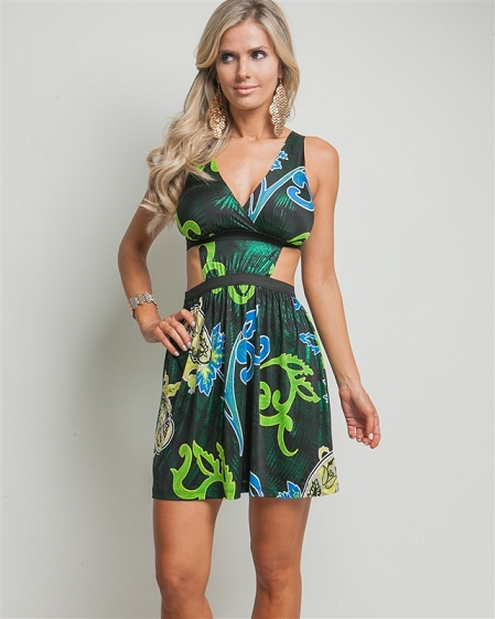 BLUE/GREEN PEEP WAIST DRESS-