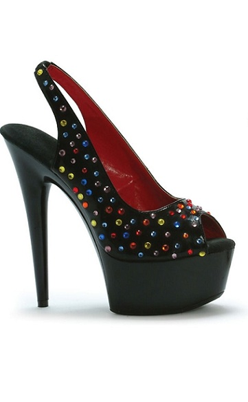 CANDY PUMPS - BLACK-609-BEDAZZLED