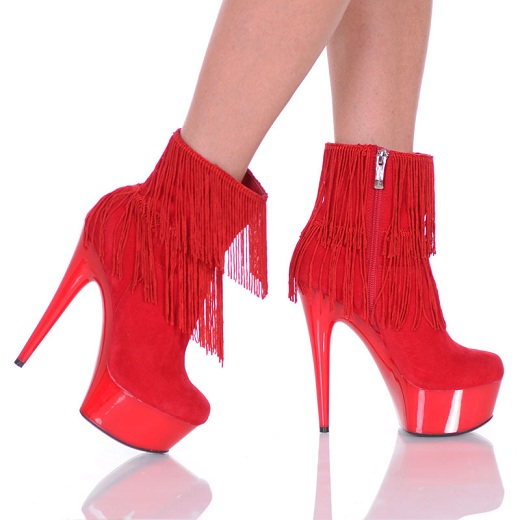 CANDY FRINGE BOOTS - RED-