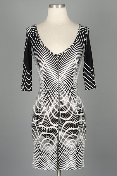 CHERYL MONOCHROME ZIPPER DRESS-