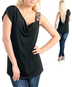 BLACK BELLA ONE SHOULDER TOP-black, beads, one, shoulder, top, shirt, plus