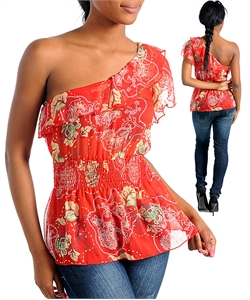 RED ALEXIA ONE SHOULDER PRINT TOP-red, one, shoulder, top, shirt ruffle