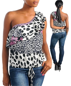 CHEETAH DIVA ONE SHOULDER TOP-cheetah, top, shirt, shoulder