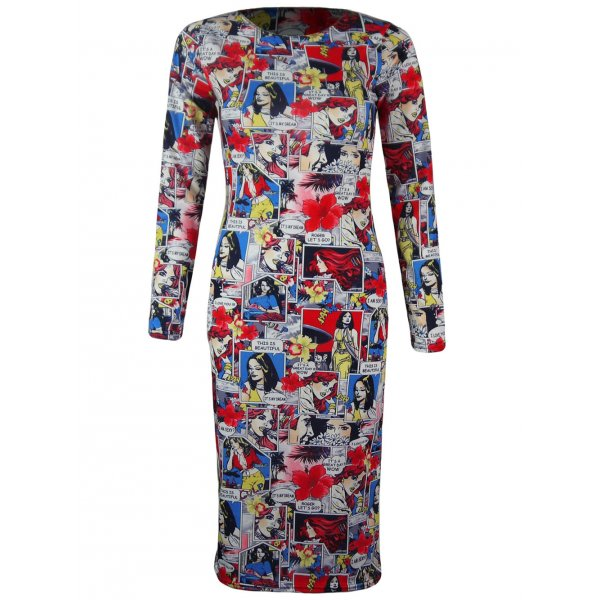 COMIC BOOK KNEE LENGTH DRESS-