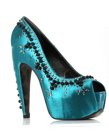 CORY EMBELLISHED PUMP - TURQUOISE-