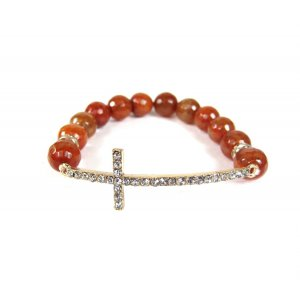 CROSS BEADED BRACELET - AUBURN-