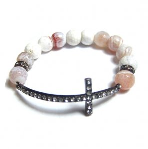 CROSS BEADED BRACELET - OFF WHITE-