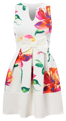 DAPHNE FLORAL SKATER DRESS - WHITE-