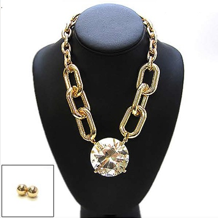 DIAMOND PENDANT NECKLACE SET - GOLD/CLEAR-