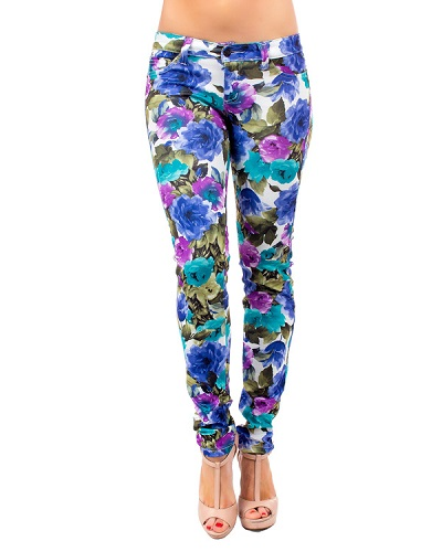 FLORAL PRINTED PANTS - BLUE-