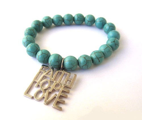 FAITH LOVE HOPE BEAD BRACELET-