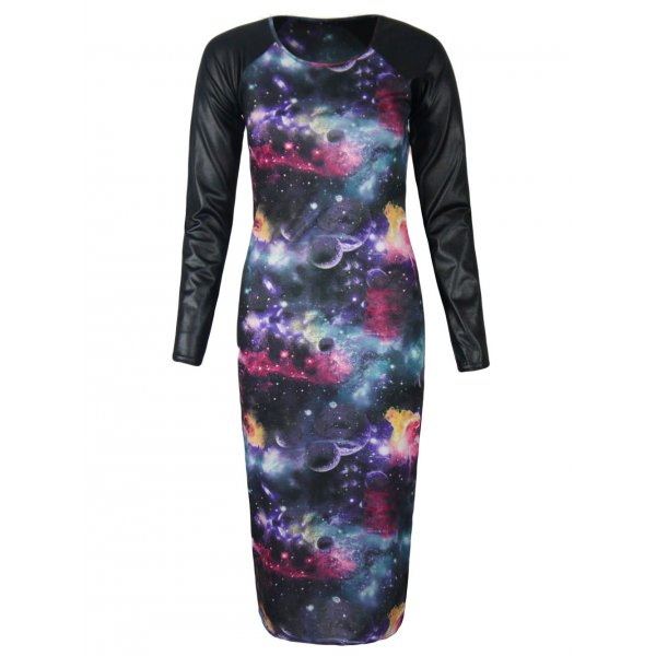 GALAXY FAUX LEATHER SLEEVES KNEE LENGTH DRESS-