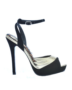 GIANNA DECO HEELS - BLACK/GOLD-