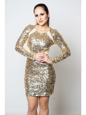 GLITZY GALORE DRESS - GOLD-
