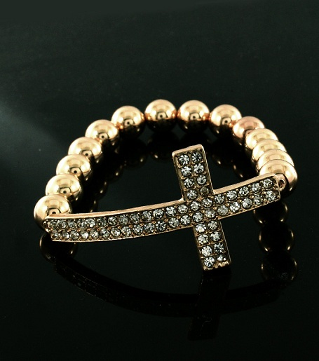 GOLD CROSS BEADED BRACELET-
