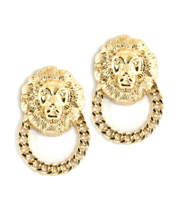 GOLD LIONESS HOOP EARRINGS-QUEEN OF THE JUNGLE, DOOR KNOCKER