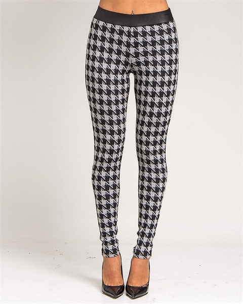 GREY/BLACK HOUNDSTOOTH LEATHERETTE LEGGINGS-