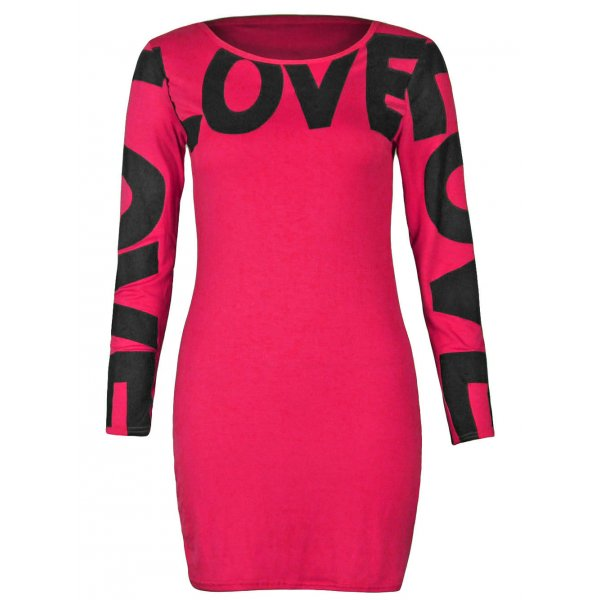 LOVE LONG SLEEVE MINI DRESS - HOT PINK-