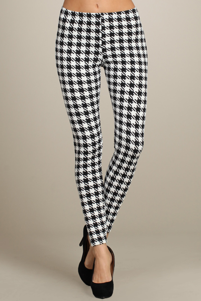 HOUNDSTOOTH PRINT LEGGINGS-