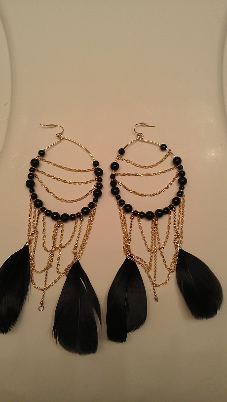 JOYCE FEATHER EARRINGS - BLACK/GOLD-FEATHER, BLACK, GOLD, CHAIN