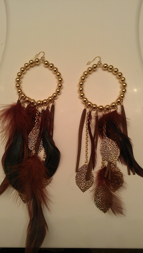 PATRICIA FEATHER EARRINGS - BROWN/GOLD-BROWN, GOLD, FEATHER, BALL