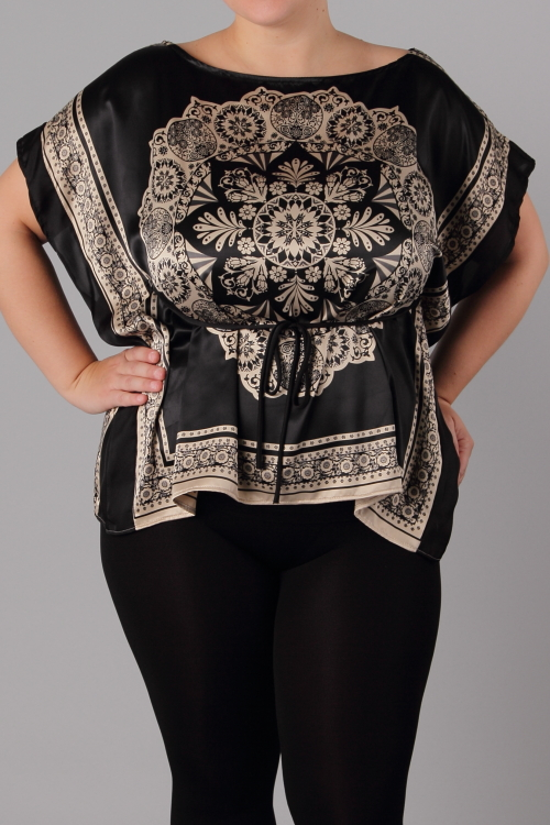 CAMILLA FLORAL TOP-black, top, plus