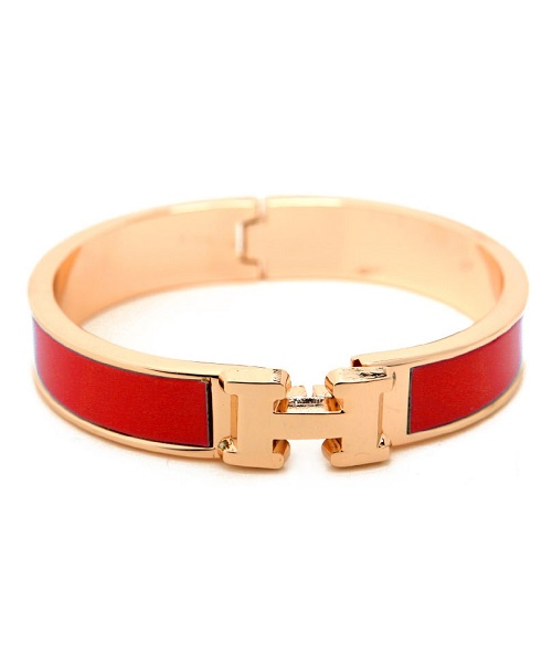 "INSPIRED ""H"" BANGLE - RED-HERMES"