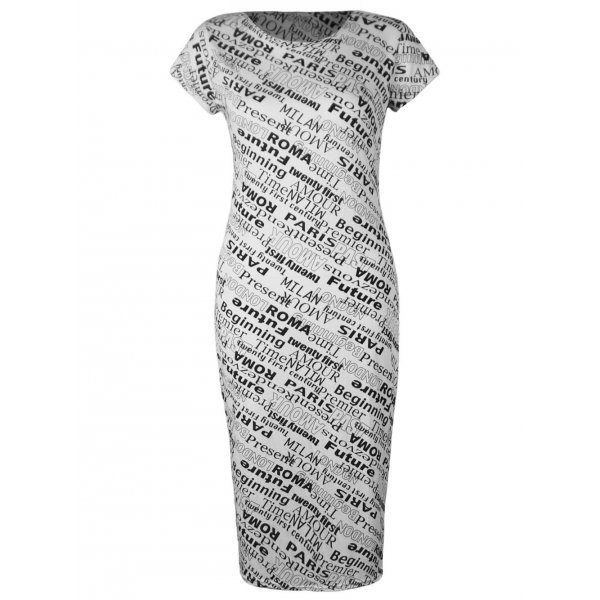INTERNATIONAL PRINT SS KNEE LENGTH DRESS-
