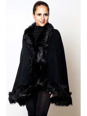 JANA FUR CAPE - BLACK-