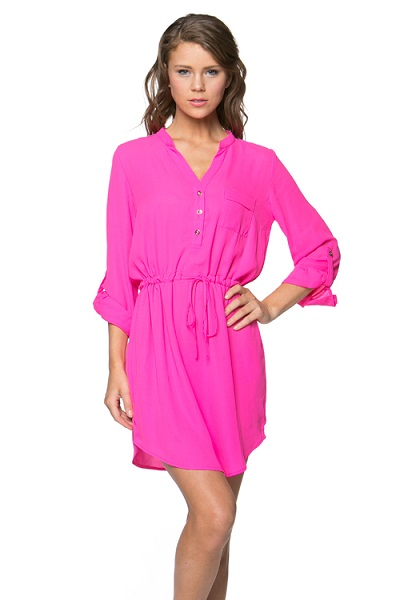 KANDICE SHIRT DRESS - HOT PINK-